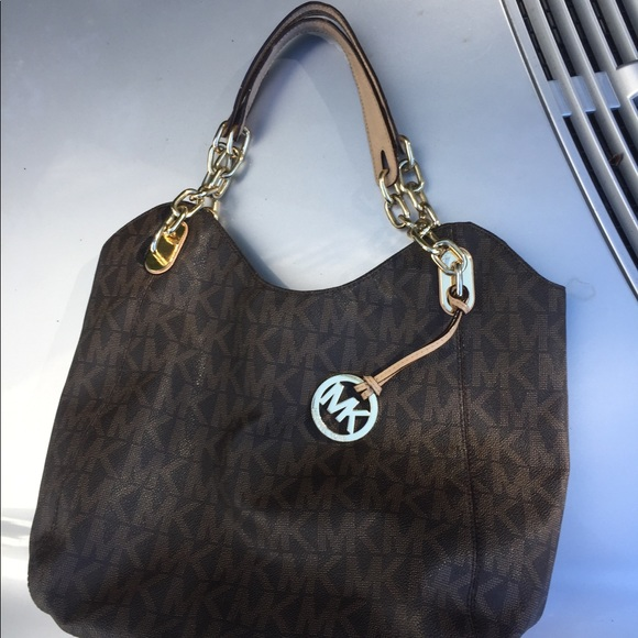 """d0a4ef0d30b6 Michael Kors """"Lilly"""" Brown MK Logo Tote Bag Purse.  M 5bc277cc61974569f0f8de65"""